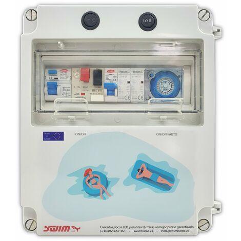 Cuadro eléctrico para piscina con transformador y Contactor para motor apto para Clorador