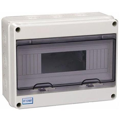 Cuadro estanco con carril DIN para 12 módulos IP65