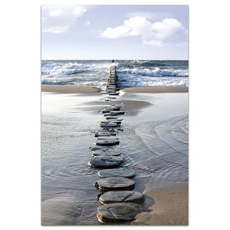 Cuadro Fotoimpresión de Lienzo para Salón/Dormitorio, Diseño Playa con Piedras. 120x80 cm