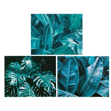 Cuadro hojas palmera 40x50x1.8cm 3 surtido