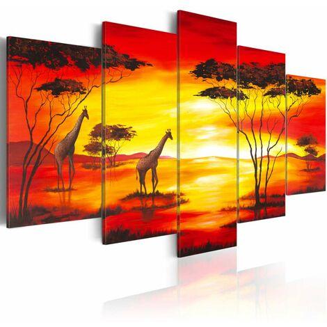Cuadro - Jirafas con la puesta del sol en el fondo