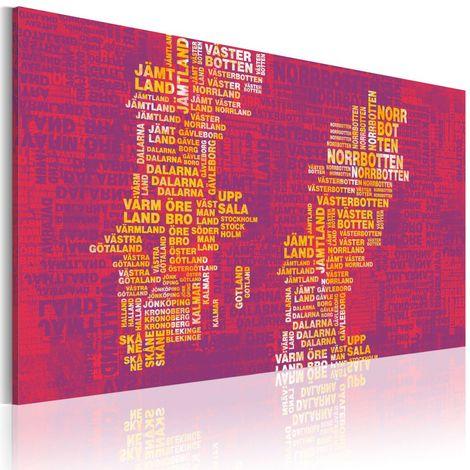 Cuadro Mapa de Suecia fondo rosa cm 90x60 Artgeist A1-N2193-DKX
