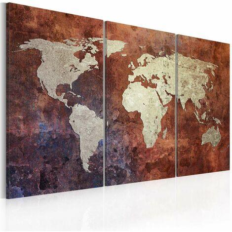Cuadro - Mapa del mundo color metal oxidado- tríptico