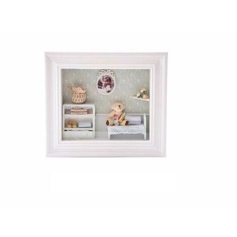 Cuadro marco madera habitación (29x25x7 cm.)