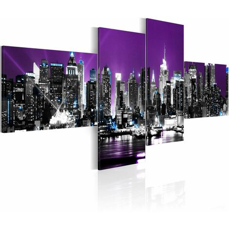 Cuadro - Nueva York sobre fondo violeta