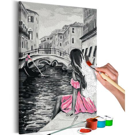 Cuadro para colorear - Venecia (chica del vestido rosa) - 40x60