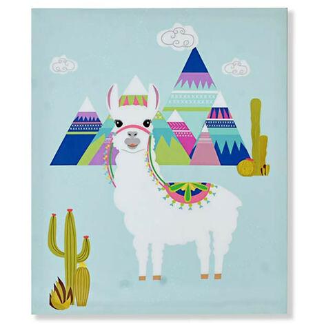 Cuadro para Decoración de Salón y Dormitorio, muy Colorido. Diseño de Llama/Alpaca, con estilo Moderno - Hogar y Más A