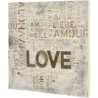 Cuadro para pared pintado a mano Love sobre lienzo bastidor incluido (60 x 60 x 2,8cm) Modelo 2