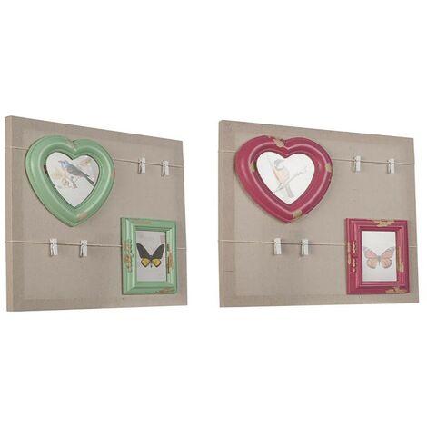 Cuadro portafotos con pinzas y marcos (40x40x3 cm) Verde