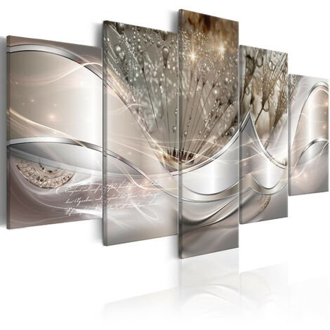 Cuadro - Sparkling Dandelions (5 Parts) Beige Wide - 200x100