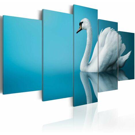 Cuadro - Un cisne en fondo azul