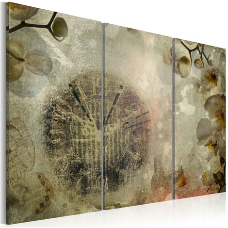 Cuadro - Vintage, clock and orchid - triptych - 90x60