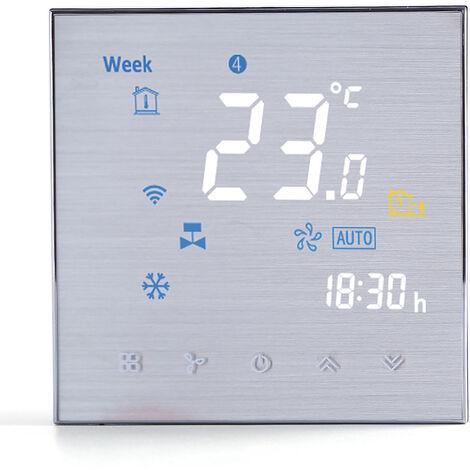 Cuatro Pipe Wifi voz inteligente Termostato digital programable del regulador de temperatura de aire acondicionado, de plata, BAC-3000ELW