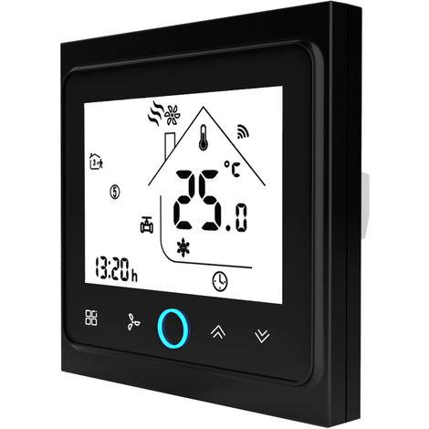 Cuatro Pipe Wifi voz inteligente Termostato digital programable del regulador de temperatura para el acondicionador de aire, BAC-002ELW, Negro