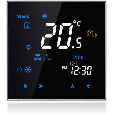 Cuatro Pipe Wifi voz inteligente Termostato digital programable del regulador de temperatura para el acondicionador de aire, Negro, BAC-3000ELW