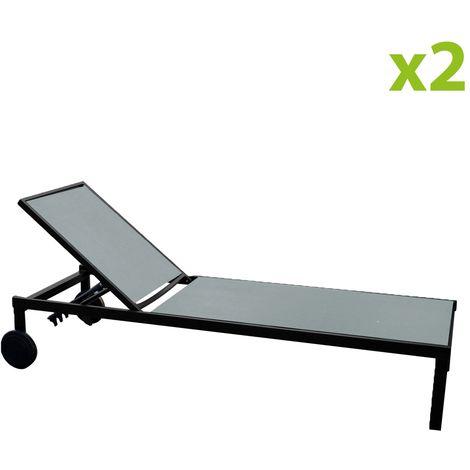 Cuba gris x2 : lot de 2 bains de soleil inclinables en aluminium et textilène avec roulettes