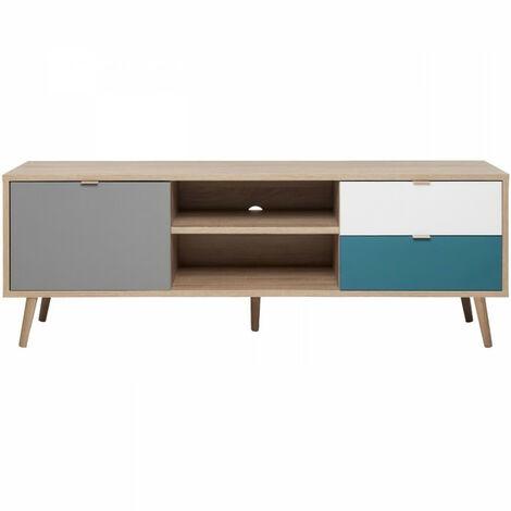 CUBA Meuble TV scandinave décor chene, gris, blanc et bleu pétrole - L 150 cm