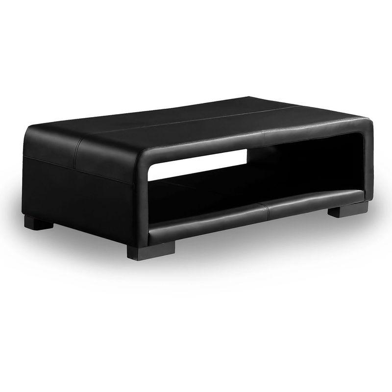 CUBANA - Table basse design cuir noir