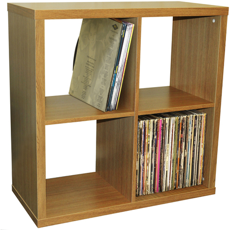 "main image of ""CUBE - 4 Cubby Square Display Shelves / Vinyl LP Record Storage - Oak"""