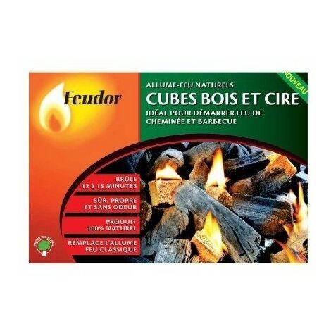 Cube bois et cire 32 allume-feu