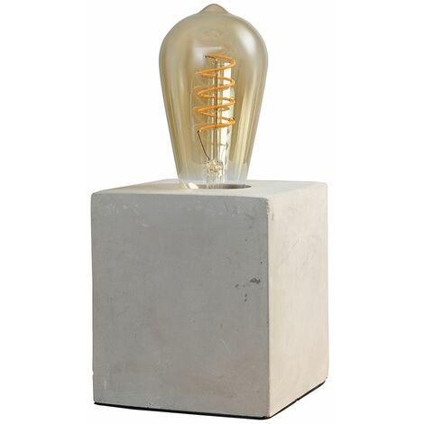 Cube Cement Table Lamp Base + 4W LED Helix Filament Light Bulb - 2200K Warm White - Grey