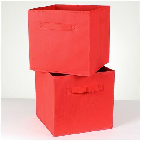 Cube de rangement intissé 28 cm - Lot de 2 - Rouge - 2113_75