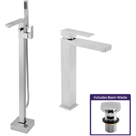 "main image of ""Cube Freestanding Bath Shower Mixer Tap And Tall Basin Mono Mixer"""