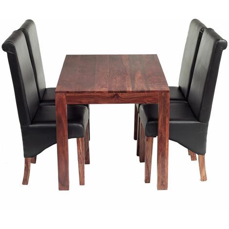 Cube Indian 4 Ft Dining Set with Leather Chairs - Rich Honey