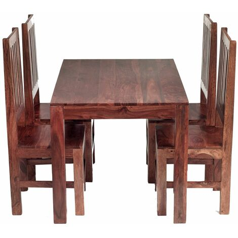 Cube Indian 4 Ft Dining Set with Wooden Chairs - Rich Honey