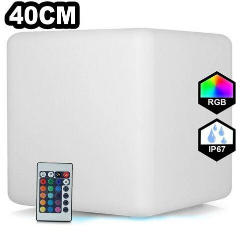 Cube LED Lumineux Multicolore 40CM Rechargeable Sans Fil