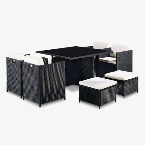 """main image of """"Cube Rattan Garden Furniture Black 9 Piece Set with Free Cover Included"""""""
