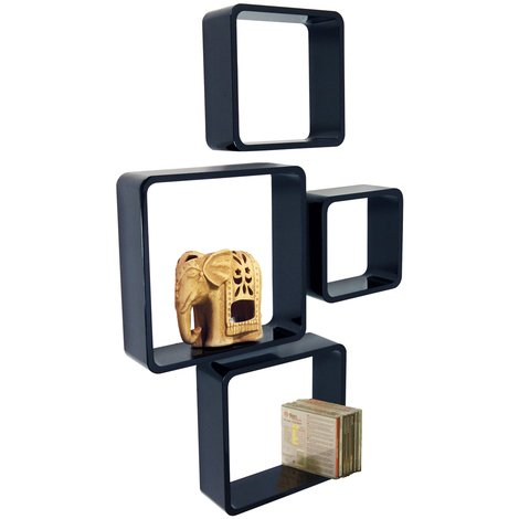 CUBE - Retro Floating Wall Display / Storage Cube Shelves - Set of Four - Black