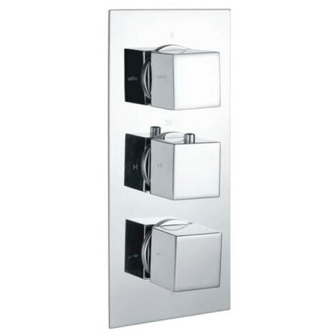 Cube Square Chrome Triple Thermostatic Concealed Shower Valve (TMV2)