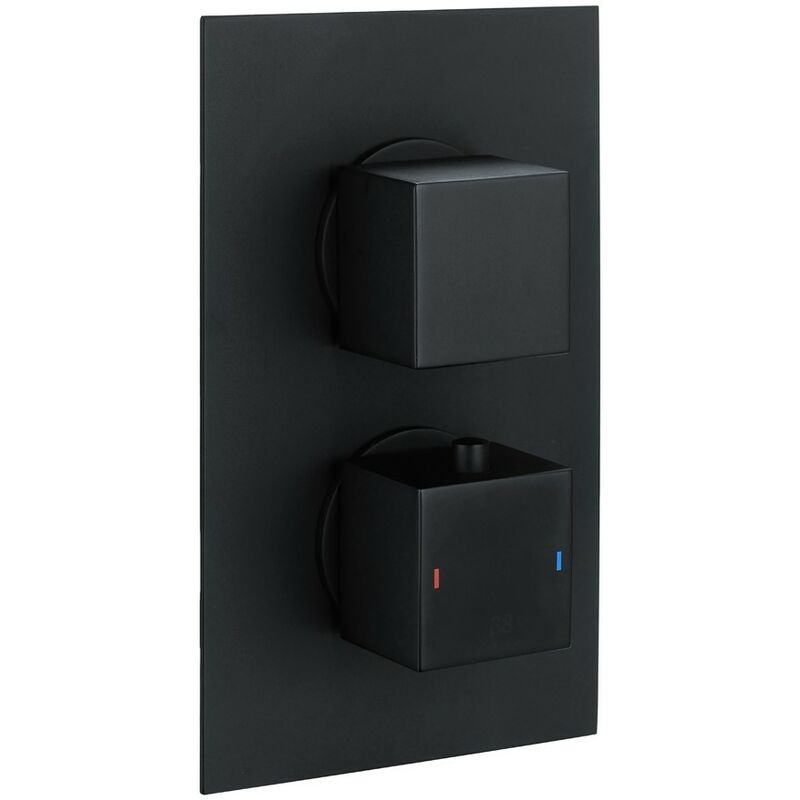 Wentworth Bathrooms - Cube Square Matt Black Twin Thermostatic Concealed Shower Valve with Diverter (TMV2)