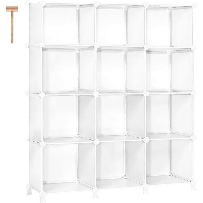 Briday - Cube Storage 12-Cube Storage Shelves Cube Organizer Closet Organizer DIY Bookshelf Bookcase Plastic Storage Cubes Shelf Clothes Storage