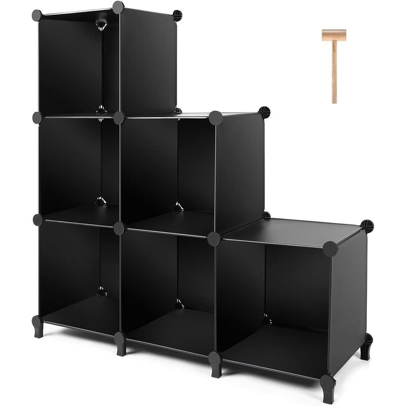 Cube Storage 6-Cube Closet Organizer Storage Shelves Cubes Organizer DIY Bookshelf Bookcase Plastic Cube Shelf Clothes Storage Organizer Shelves for