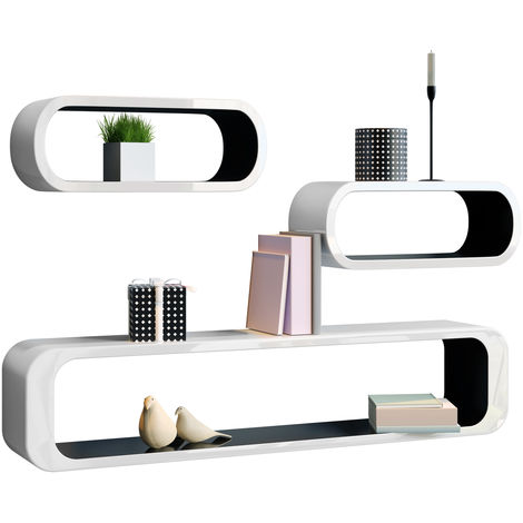 Cube Wall Shelf Set of 3 Retro Design Wall Shelves in different Colors