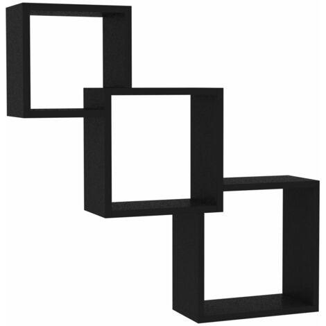 Cube Wall Shelves Black 84.5x15x27 cm Chipboard
