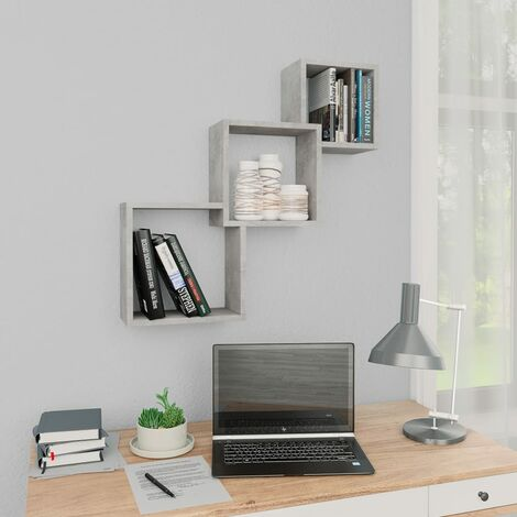 Cube Wall Shelves Concrete Grey 84.5x15x27 cm Chipboard