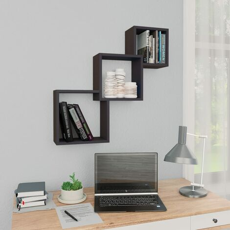 Cube Wall Shelves Grey 84.5x15x27 cm Chipboard