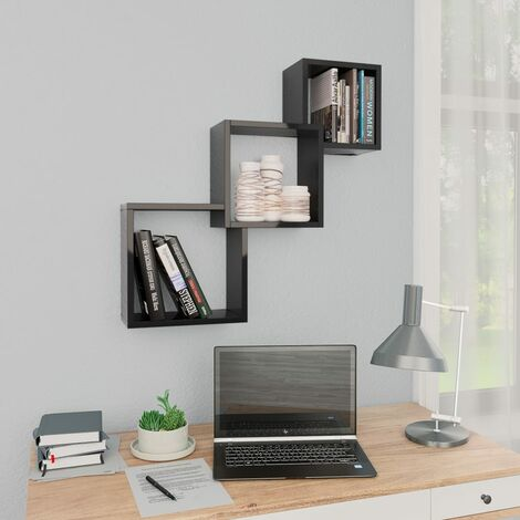 Cube Wall Shelves High Gloss Black 84.5x15x27 cm Chipboard