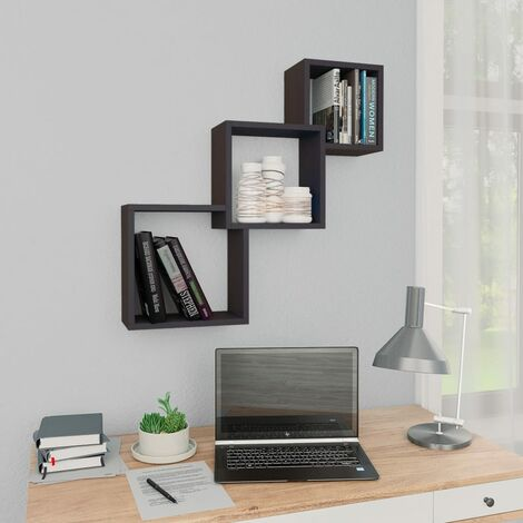 Cube Wall Shelves High Gloss Grey 84.5x15x27 cm Chipboard