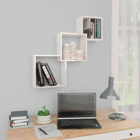 Cube Wall Shelves High Gloss White 84.5x15x27 cm Chipboard