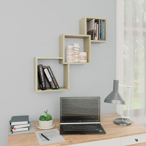 Cube Wall Shelves Sonoma Oak 84.5x15x27 cm Chipboard