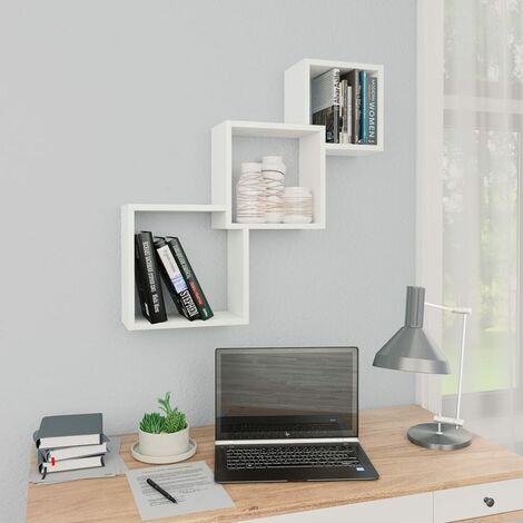 Cube Wall Shelves White 84.5x15x27 cm Chipboard - White