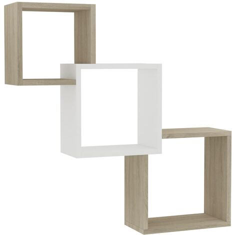 Cube Wall Shelves White and Sonoma Oak 84.5x15x27 cm Chipboard