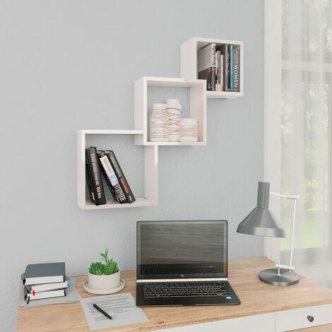 Cube Wandregale Hochglanz-Weiß 84,5×15×27 cm Spanplatte