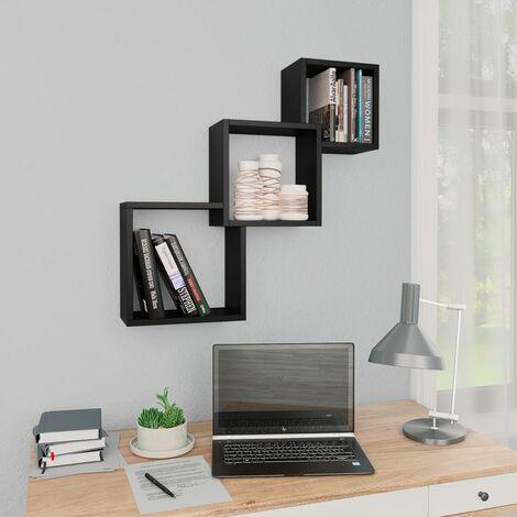 Cube Wandregale Schwarz 84,5×15×27 cm Spanplatte