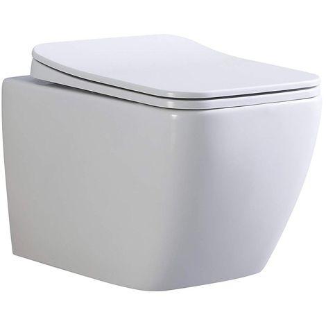 CUBE WC suspendu avec abattant Blanc - Blanc