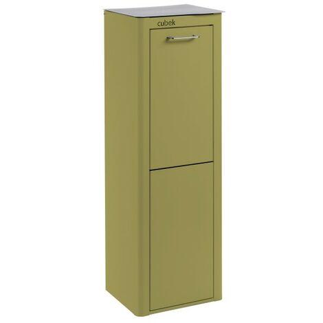 CUBEK - Cubo de basura y reciclaje lacado, con 2 compartimentos. Verde oliva
